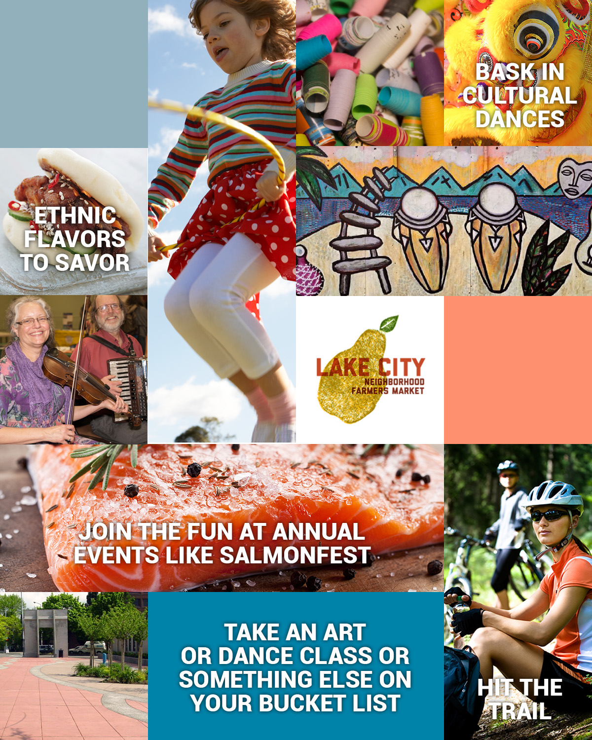 collage of arts & cultural events in Lake City